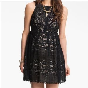 "Free people ""Rocco"" black lace midi dress size 2"